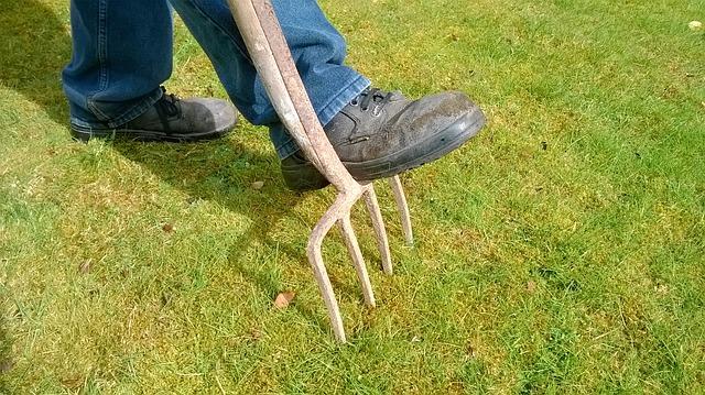 areacja-trawnika-widłami
